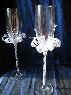 Decoration of wedding glasses tape ogranzy