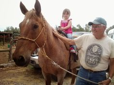 Grandpa and Morgan riding Rock