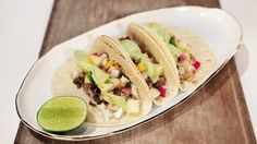Grilled Fluke Tacos with Poblano Compote Recipe | The Chew - ABC.com.  You can use any kind of fish.