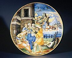 Musée d'Ecouen - Coupe sur pied représentant Samson et Dalila (Juges XV, 19). ECL7570. Vers 1535-1540. Face. URBINO (origine) Faience, majolique.