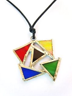 Colorful Geometric Necklace Stained Glass Triangle by Tocasol Fused Glass Jewelry, Fused Glass Art, Stained Glass Art, Glass Necklace, Mosaic Glass, Glass Pendants, Tiffany Necklace, Stained Glass Designs, Stained Glass Projects