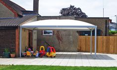 A single canopy creating a small area of shade and shelter.