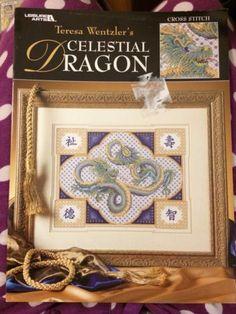 Cross-stitch-pattern-booklet-Teresa-Wentzler-Celestial-Dragon-3242 Dragon Cross Stitch, Booklet, Cross Stitch Patterns, Needlework, Butterfly, Birds, Celestial, Frame, Dragons