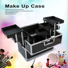 Large Cosmetic Organizer Box Make Up Case for Make Up Tools Lockable Black Containing Storage Box. It also protects your skin from being hurt by its shrill corner. Are you still complain that you have too many cosmetic tools? Makeup Stand, Makeup Box, Eye Makeup Tips, Makeup Storage, Makeup Organization, Makeup Tools, Makeup Brushes, Beauty Makeup, Large Makeup Case