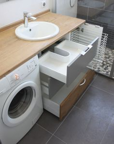 washing machine in bathroom ,Bathroom Laundry Room Combination. panier à linge dans meuble de salle de bain