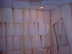 Halloween - Wall - padded room - built 4 x 8 frames then covered in drop cloth painted rust dripping and added some creepy sounds. #Halloween ideas #Insane #Sanitarium Padded room