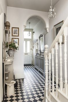 Treasure trove - monochrome tiles bring the victorian hallway to life house Hall Tiles, Tiled Hallway, Victorian Hallway Tiles, Hallway Ideas Entrance Narrow, Victorian Flooring, Small Entrance Halls, Edwardian Hallway, Victorian Stairs, Tile Entryway