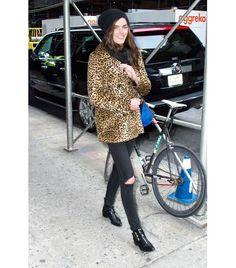 @Who What Wear - Hilary Rhoda                 Wear Your Jeans With: A bold coat + sleek boots  On Rhoda: Alexander Wang hat; Ralph Lauren Denim & Supply coat; Rag & Bone Slim Fit Skinny Jeans ($198); Tabitha Simmons Early Boots ($1195).