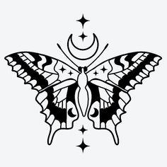 Star Tattoo Designs, Butterfly Tattoo Designs, Tattoo Design Drawings, Tattoo Sketches, Moth Tattoo Design, Butterfly Drawing, Blackwork, Dope Tattoos, Star Tattoos