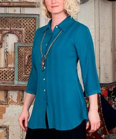 Loving this Teal Side Pleat Jennifer Button-Up - Plus on #zulily! #zulilyfinds