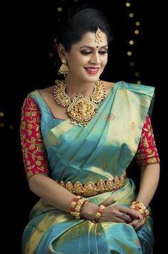 The latest Indian saree designs look-book is here! Take a look at some of the most amazing and new-age styles of draping your regular saree like a diva! Pattu Saree Blouse Designs, Blouse Designs Silk, Bridal Blouse Designs, Blouse Patterns, Bridal Silk Saree, Saree Wedding, Wedding Bride, Indian Sarees, Silk Sarees