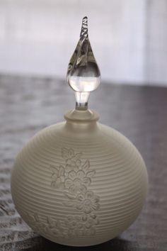Vintage Large Art Deco Round Frosted Glass Perfume Bottle | eBay