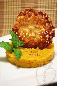 Arroz dulce con naranja y azafrán Sweet risotto with orange juice and saffron Risotto sucré à l'orange et au safran