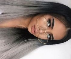 Image about beauty in Nails by halideboz on We Heart It Silver Ombre Hair, Ombre Hair Color, Tattoo Gesicht, Brown Blonde Hair, Blonde Brunette, Grunge Hair, Hair Highlights, Balayage Hair, Hair Looks