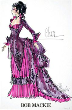 Bob Mackie costume sketch for Cher from The Sonny & Cher show - igavelauctions.com
