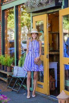 Striped Sleeveless Shirtdress, Ferragamo Flats, Chloe Cross body, J.Crew wide brim hat