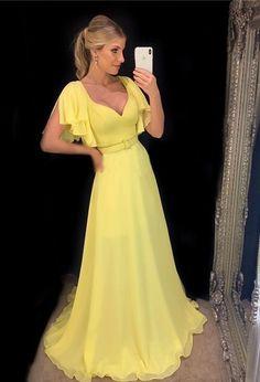 yellow prom dresses long modest v neck short sleeve elegant simple prom gown 2021 vestido de fiesta Prom Dresses Long Modest, Mint Bridesmaid Dresses, Simple Prom Dress, Prom Dresses 2017, Prom Party Dresses, Short Dresses, Formal Dresses, Yellow Bridesmaids, Women's Dresses