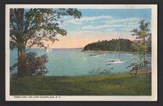 ESSEX BAY on LAKE CHAMPLAIN NEW YORK ADIRONDACK MOUNTAINS NY Postcard JS WOOLEY Lake Champlain, Adirondack Mountains, Upstate New York, Old Postcards, Old Things, Stamp, Painting, Vintage, Photos
