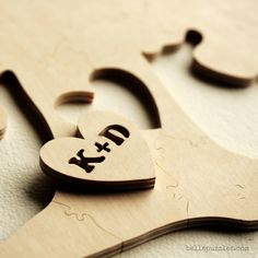 #guestbook #alternative for #weddings. Personalized wooden puzzle. Guests sign it, you play with it. By Bella Puzzles.