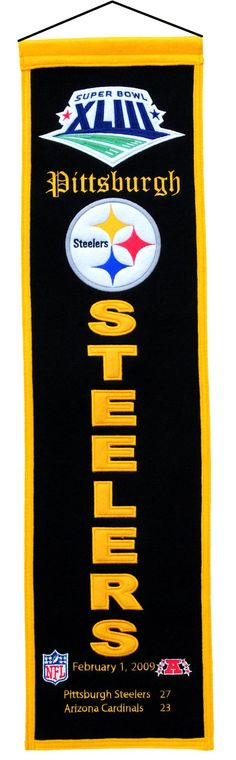 ~Pittsburgh Steelers Super Bowl 43 Banner 8x32 Wool Heritage~ backorder