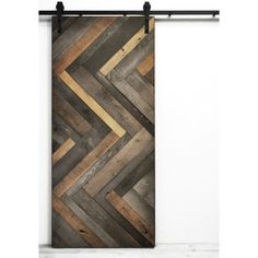 Dogberry Collections Herringbone Wood Lacquer Stained Interior Barn Door by AllModern Sliding Barn Door Hardware, Sliding Doors, Front Doors, Door Hinges, Front Entry, Interior Barn Doors, Home Interior, Interior Design, Scandinavian Interior