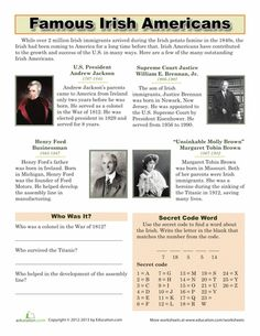 Celebrate the contributions of famous Irish Americans with this worksheet. Read a bit about each famous figure and complete a comprehension exercise. Social Studies Worksheets, School Worksheets, Free Printable Worksheets, Free Printables, Comprehension Exercises, Comprehension Worksheets, Study History, Family History, Irish Americans