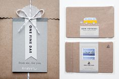 Branded Mailer Packaging. Sewn envelope, tag with eyelet and twine.
