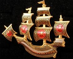 Vintage Red Damascene Ship Brooch Gold Plated Pin Enamel Toledo Ware Spain #Unbranded #Ship