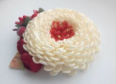 Flower Hair Clip/ Girls hair accessories/Ivory by AirinFlowers
