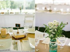 simple centerpieces and table cloths create a focus on the nature surrounding the tent and, of course, the couple!