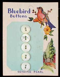 Sewing Buttons ABC Vintage Button Card Scrapbooking Blue Bonnet Buttons Shabby Chic Pearl Buttons Vintage Buttons Buttons on Card
