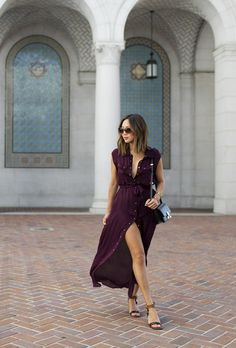 justthedesign:  In case you were wondering shirt dresses are a definitely a yes this summer! Just take it fromAimee Song and this lovely burgundy dress with brown heels!  Dress: Matthew Zink