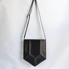 Pentagon Shoulder Bag Geometric Bag Handmade Leather by CrowSLC
