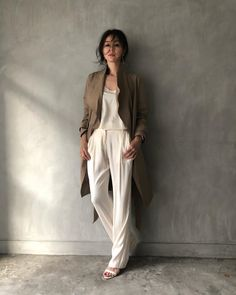 Image Sample, Minimal Outfit, Grey And Beige, Curled Hairstyles, My Outfit, Her Hair, Style Icons, Duster Coat, Casual Outfits