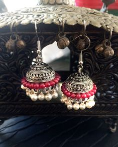 Pearl earrings,Pearl Jhumkas,Silver Jhumki Earrings,red Temple Ethnic Jewellery,dome earring,Bell earrings Designer Jewelry by Taneesi by taneesijewelry on Etsy