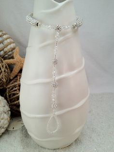 Crystal beach wedding barefoot sandal - bridal jewelry, foot jewelry, crystal bling sandals, anklet toe ring. $89.95, via Etsy.
