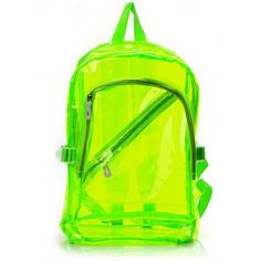 Bright colored 90s vintage overstock clear Jelly backpack bag black,... ($36) ❤ liked on Polyvore featuring bags, backpacks, accessories, green, neon, pocket backpack, neon yellow backpack, day pack backpack, beach bag and neon backpacks