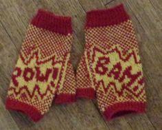 Fightin' Words fingerless gloves in KP Palette, knit by Deborah Cooke