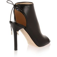 Jimmy Choo Froze black nappa leather bootie ($475) ❤ liked on Polyvore featuring shoes, boots, ankle booties, high heel boots, black boots, black ankle boots, peep toe booties and black high heel boots