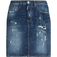 Dsquared2 Denim Skirt ($305) ❤ liked on Polyvore featuring skirts, blue, denim button skirt, blue denim skirt, button skirt, ripped denim skirt and blue pencil skirt