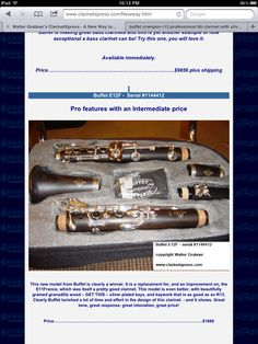Buffet E12F intermediate clarinet with characteristics of a pro clarinet! Also silver plated keys!