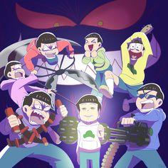 Devilmatsu, Godmatsu, Ichimatsu, Todomatsu, Osomatsu, Choromatsu, Jyushimatsu, and Karamatsu ||| Osomatsu-san 1x21 Fan Art by mika-gx on Tumblr