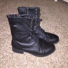 Charlotte  russe boots! size 6! great condition besides a scuff on outside of right boot! buy through PayPal and pay $15! (: tracking number will be included Charlotte Russe Shoes Combat & Moto Boots