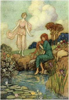 A fairytale illustration by Warwick Goble