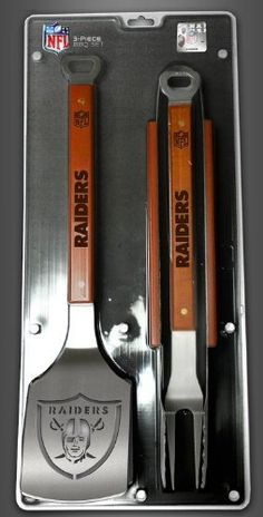 """Oakland Raiders 3-Piece Set Sportula Set Grilling Tailgating Tools NFL Spatula . $50.99. Hard maple handles. Unique laser-cut design. Heavy-duty stainless steel. Dimensions: 22"""" x 9"""". Oakland Raiders sports enthusiasts, SPORTULA® has your ultimate display of Giants Merchandise. Sportula 3-Piece Sets include The Sportula®, Tongs, and Fork and all are made of heavy duty stainless steel and hard maple handles! Go Raiders!"""