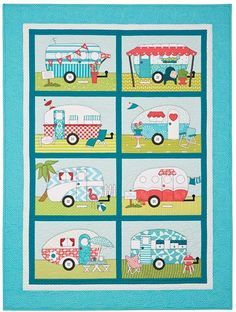 """Campers Quilt - . Full of bright, fun colors, this 40"""" x 54"""" wall-sized quilt"""
