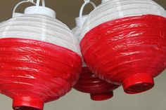 DIY bobbers for fishing birthday party. Just paint the bottom half of the lantern red!