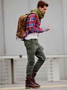 Shop this look for $172: http://lookastic.com/men/looks/cargo-pants-and-boots-and-socks-and-crew-neck-t-shirt-and-gloves-and-backpack-and-scarf-and-longsleeve-shirt/69 — Olive Cargo Pants — Burgundy Leather Boots — Brown Wool Socks — White Crew-neck T-shirt — Grey Wool Gloves — Tobacco Backpack — Olive Scarf — Red Plaid Longsleeve Shirt