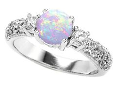 Amazon.com: Original Star K (tm) 7mm Round Created Opal Engagement Ring in 925 Sterling Silver Size 7: Star K: Jewelry