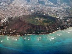Aerial view of Diamond Head Crater, Oahu, Hawaii.